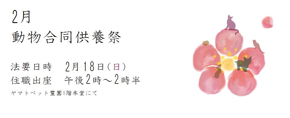 平成三十年度 2月動物合同供養祭<br /> 法要日時 2月18(日)