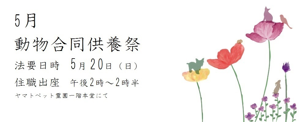平成三十年度 5月動物合同供養祭<br /> 法要日時 5月20(日)
