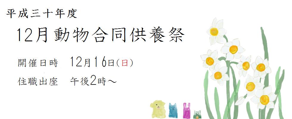 平成三十年度 12月動物合同供養祭<br /> 法要日時 12月16(日)