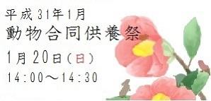 平成三十一年度 1月動物合同供養祭 1月20日(日)