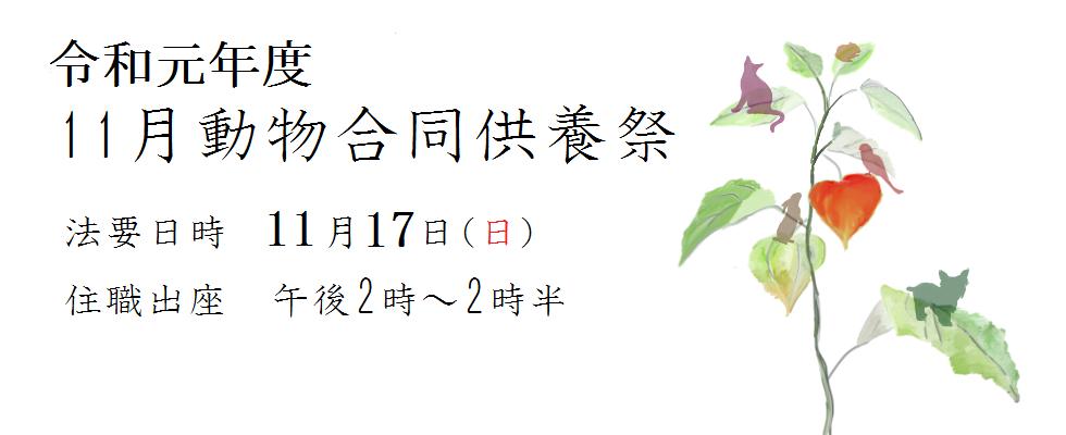 令和元年度 11月動物合同供養祭<br /> 法要日時 11月17日(日)