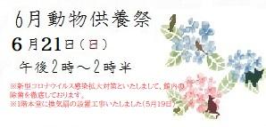 令和2年度6月動物合同供養祭 日時 6月21日(日)